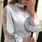 Dot Mesh Sleeve Tied Detail Casual Blouse