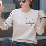 Crew Neck Letter Star Print Casual Solid Color Sweatshirts
