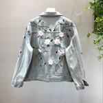 Embroidery Flowers Loose Denim Jacket