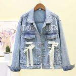 Beading Diamonds Loose Fit Ribbons Jeans Jackets