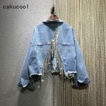 Diamonds Tassels Loose Denim Jackets