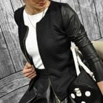 PU Leather Patchwork O-neck Jackets