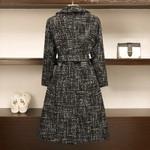 Loose Wool Double Breasted Tweed Coat