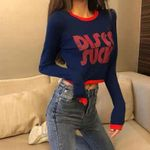 Fashion Sexy Letter Print Slim Long-Sleeved Sweater