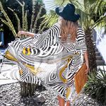 Black White And Orange Zebra Print Long Kimono