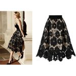 Lace Soft Stretch Flared  Hollow Printed Elegant Skirts