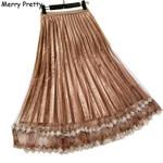 Mesh Pleated High Waist Ruffles Velvet Skirts