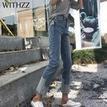 High Waist Stretch Light Straight Legs Jeans