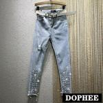 Rhinestone Beaded Pencil High-Waist Ripped Jeans