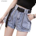 Black Streetwear Leg Shorts With Rivet Short Denim