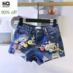 Fashion High Waist Hole Ripped Loose Fit Jeans Short