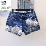 Pearls Tassel Lace Floral Pattern Frayed Denim Shorts