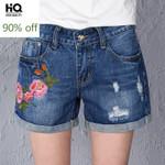 Fashion Hole Ripped Embroidery Flower Zipper Short Denim