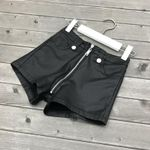 PU Leather Solid Faux Leather Elastic Shorts