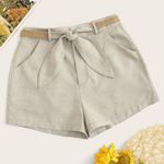 Office Sexy Solid Bandage Vintage High Waist Short