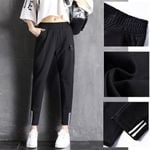Mid Waist Casual Sports Skinny Stripe Splice Pants