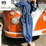 Style Cargo Overalls One Piece Long Sleeve Denim Jumpsuit