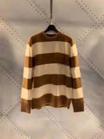 New Style Loose Stripe Stitching Round Neck Sweater