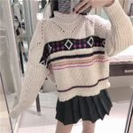 O Neck Long Sleeve Hollow Out Patchwork Pattern Sweater