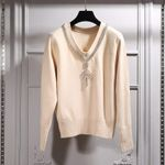 Temperament Lady V-neck Diamond Wool Joker Sweater