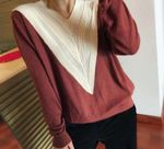 Flower Hollow Long Sleeve Long Sleeve Color V-neck Sweater