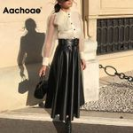 Faux Leather Elegant Tie Belt High Waist Skirts