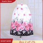 Rose Flower Digital Printing High Waist Skirt
