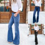 Polyester Hight Waisted Wide Leg Jeans