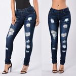 Polyester Fashion Button Zipper Pocket Hole Jeans