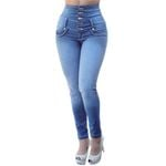 Cotton Elastic Button Loose Hole Casual Jeans