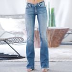 Mid Waisted Pocket Stretch Button Bell-Bottom Jeans