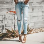Pencil Ripped Stretchy Solid Casual Jeans