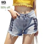 Vintage Embroidery Loose Fit Ripped Denim Shorts