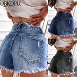 Slim Ripped Hole Skinny With Tassel Vintage jean shorts