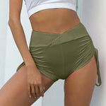 High Elastic Yoga Fitness Drawing Rope Wrinkle Running Shorts