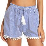 Stripe Mid Loose Waist Tassel Loose Shorts