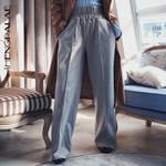 Wide Leg High Waist Elastic Button Split Pants
