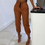 Elastic High Waist Solid Color Fashion Pants