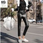 High Quality Leather Ankle Length Pants
