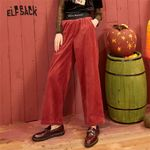 Black Solid Corduroy Casual Wide Leg Pants