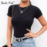 Black O-Neck White Office Lady Solid Bodysuits