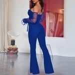 Royal Blue Bandage High Waist Flare Sleeve Jumpsuits