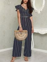 ruffle short sleeve stripe jumpsuits