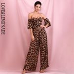 Sexy Brown Leopard Print Tube Top Large Sleeves Loose Jumpsuits