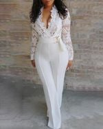 Deep V-neck Full Sleeve Lace Solid Wide Leg Jumpsuits