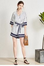 Striped Lace Up Waist Rompers