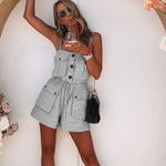 Casual strap Pockets lace up cotton Rompers