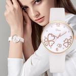 Flowers Dial Simple Leather Belt Wristwatch