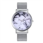 Business Marble Dial Fashion Plant Pattern Watch