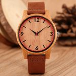 Fashion Casual Brown Leather Band Wood Watch